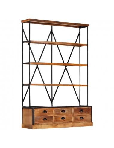 Knygų spinta su 6 stalčiais, 4a., 122x36x181cm, mango masyvas | Knygų Spintos ir Pastatomos Lentynos | duodu.lt
