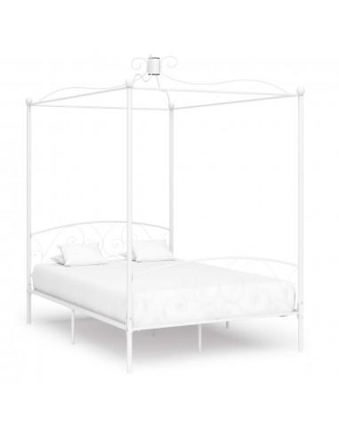 Lova su baldakimu, baltos spalvos, 120x200cm, metalas   Lovos ir Lovų Rėmai   duodu.lt