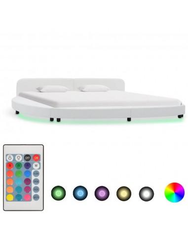 Lovos rėmas su LED, baltos sp., 180x200cm, dirbtinė oda | Lovos ir Lovų Rėmai | duodu.lt