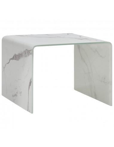 Kavos staliukas, baltas, 50x50x45cm, grūdintas stiklas    Kavos Staliukai   duodu.lt