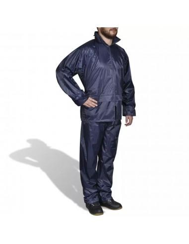 Mėlynas Vyriškas 2 Dalių Kostiumas nuo Lietaus su Gobtuvu, L | Neperšlampami kostiumai | duodu.lt