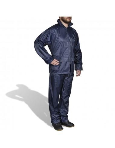 Mėlynas Vyriškas 2 Dalių Kostiumas nuo Lietaus su Gobtuvu, XXL | Neperšlampami kostiumai | duodu.lt