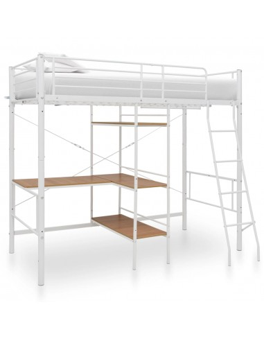 Dviaukštė lova su stalu, baltos spalvos, 90x200cm, metalas   Lovos ir Lovų Rėmai   duodu.lt
