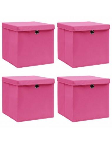 Daiktadėžės su dangčiais, 4vnt., rožinės, 32x32x32cm, audinys | Daiktadėžės namams | duodu.lt