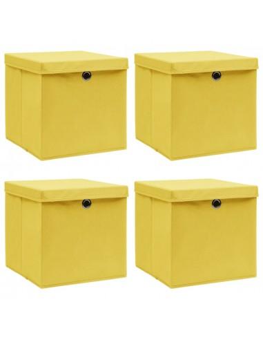 Daiktadėžės su dangčiais, 4vnt., geltonos, 32x32x32cm, audinys   Daiktadėžės namams   duodu.lt