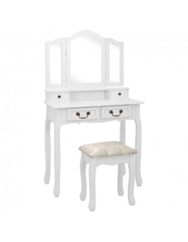 Kosmetinio staliuko rinkinys, baltas, 80x69x141cm, mediena   Miegamojo Spintelės   duodu.lt