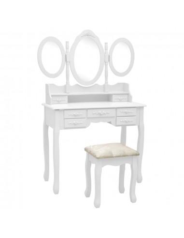 Kosmetinis staliukas su kėdute ir 3 veidrodžiais, baltas  | Miegamojo Spintelės | duodu.lt