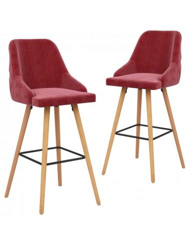 Baro taburetės, 2vnt., raudonojo vyno spalvos, aksomas | Stalai ir Baro Kėdės | duodu.lt