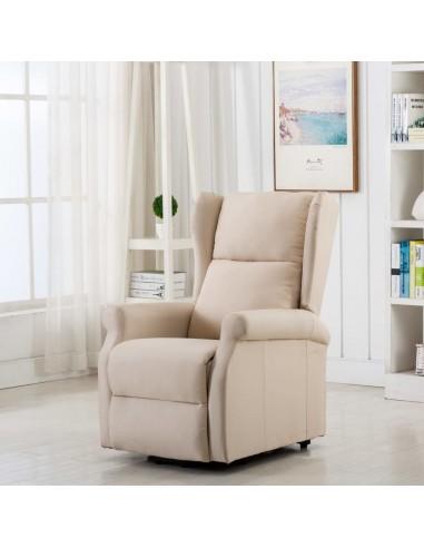 Atsistojantis krėslas, kreminės spalvos, audinys | Foteliai, reglaineriai ir išlankstomi krėslai | duodu.lt