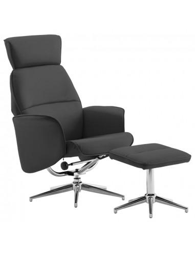 Atlošiamas krėslas su pakoja, antracito spalvos, dirbtinė oda   Foteliai, reglaineriai ir išlankstomi krėslai   duodu.lt