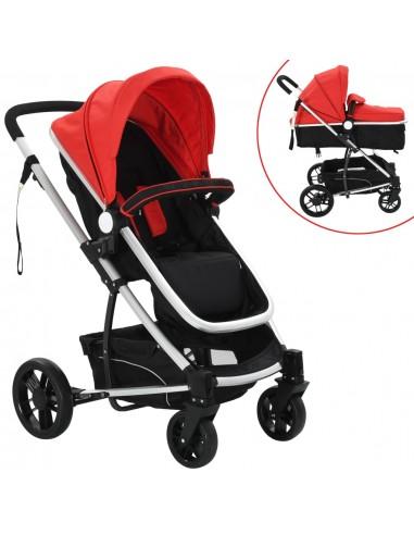 2-in-1 Vaikiškas sulankstomas vežimėlis, aliuminis, raud./juodas   Kūdikių Vėžimėliai   duodu.lt