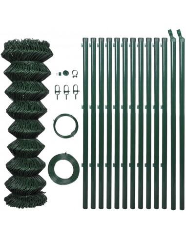 Žalias Tvoros Tinklas, su Stulpais ir Tvirtinimo Elementais, 1,25x25 m | Tvoros Segmentai | duodu.lt