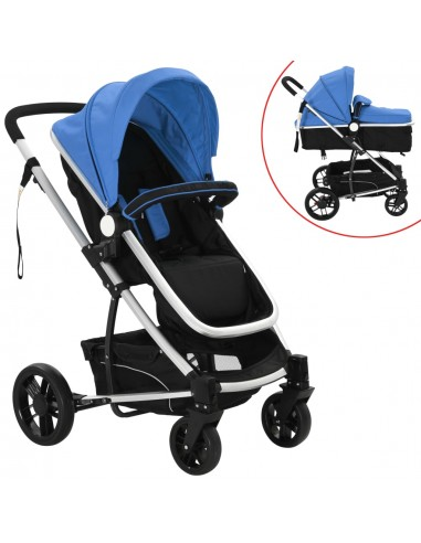 2-in-1 Vaikiškas sulankstomas vežimėlis, aliuminis, mėl./juodas   Kūdikių Vėžimėliai   duodu.lt