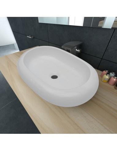 Keramikinis Praustuvas, Ovalo Formos Kriauklė, Baltas, 63 x 42 cm | Vonios praustuvai | duodu.lt