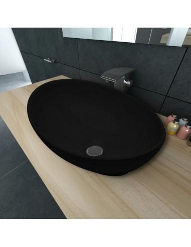 Keramikinis Praustuvas, Ovalo Formos Kriauklė, Juodas, 40 x 33 cm | Vonios praustuvai | duodu.lt