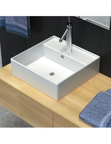 Keramikinis praustuvas, kvadratinis, anga maišytuvui, 41 x 41 cm    Vonios praustuvai   duodu.lt