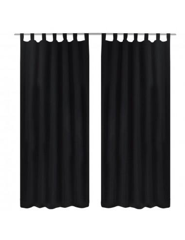 Juodos Užuolaidos su Kilpomis 140 x 225 cm, 2 vnt., Mikro Satinas | Dieninės ir Naktinės Užuolaidos | duodu.lt
