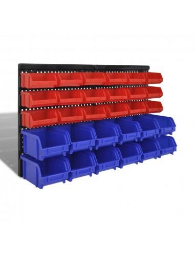 Sieninis Garažo Stelažas su 30 Plastmasinių Dėžių, Mėlynų ir Raudonų | Įrankių Spintos ir Dėžės | duodu.lt