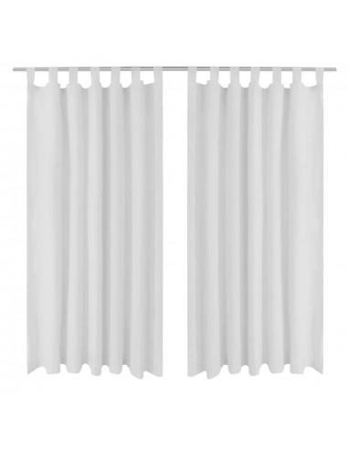 Baltos Užuolaidos su Kilpomis 140 x 175 cm, 2 vnt., Mikro Satinas | Dieninės ir Naktinės Užuolaidos | duodu.lt