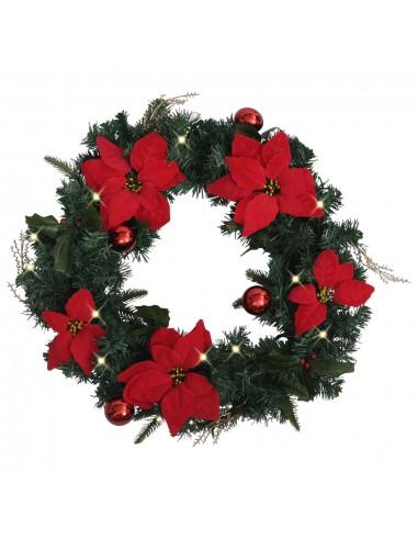 Kalėdinis vainikas su LED lemputėmis, žalios spalvos, 60cm, PVC | Šventiniai papuošimai | duodu.lt