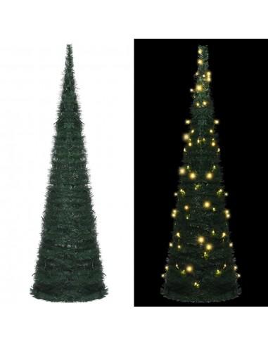 Išskleidžiama dirbtinė Kalėdų eglutė su LED, žalia, 150cm   Šventiniai papuošimai   duodu.lt