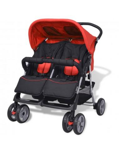 Vaikiškas vežimėlis dvynukams, plienas, raudonas/juodas   Kūdikių Vėžimėliai   duodu.lt