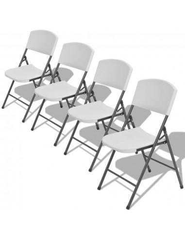 Sulankstomos sodo kėdės, 4 vnt., HDPE, baltos | Lauko Kėdės | duodu.lt