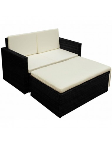 Lauko baldų komplektas, 7 dalių, poliratanas, juodas    Lauko Baldų Komplektai   duodu.lt