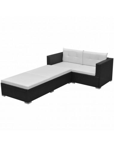 Sodo sofų komplektas, 8 dalių, poliratanas, juodas  | Lauko Baldų Komplektai | duodu.lt