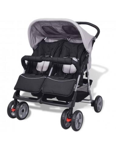 Vaikiškas vežimėlis dvynukams, plienas, pilkas/juodas   Kūdikių Vėžimėliai   duodu.lt