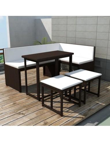 Lauko baldų komplektas, 12 dalių, poliratanas, rudas  | Lauko Baldų Komplektai | duodu.lt