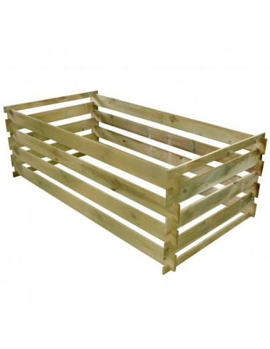 Komposto dėžė iš lentų, impregnuota pušies mediena, 160x80x58cm | Komposteriai | duodu.lt