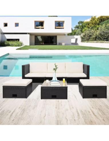 Lauko baldų komplektas, 12 dalių, poliratanas, juodas  | Lauko Baldų Komplektai | duodu.lt