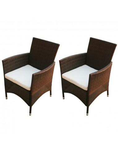 Sodo kėdės, 2 vnt., rudos, poliratanas    Lauko Kėdės   duodu.lt