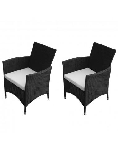 Sodo kėdės, 2 vnt., sintetinis ratanas, juodos    Lauko Kėdės   duodu.lt