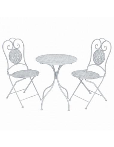 Bistro baldų komplektas, 3 dalių, plienas, baltas  | Lauko Baldų Komplektai | duodu.lt