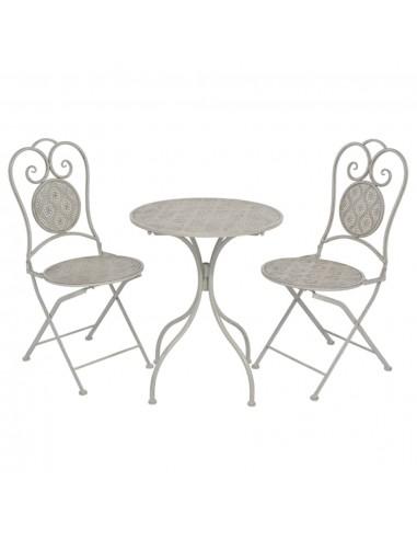 Bistro baldų komplektas, 3 dalių, plienas, pilkas  | Lauko Baldų Komplektai | duodu.lt