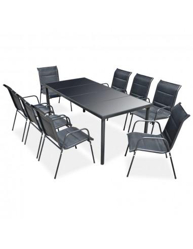 Lauko valgomojo baldų komplektas, 9 dalių, juodas   Lauko Baldų Komplektai   duodu.lt