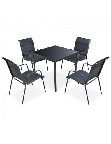 Lauko valgomojo baldų komplektas, 5 dalių, juodas   Lauko Baldų Komplektai   duodu.lt