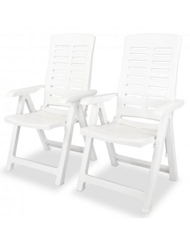 Atlošiamos sodo kėdės, 2vnt., 60x61x108cm, plastikas, balta sp.   Lauko Kėdės   duodu.lt