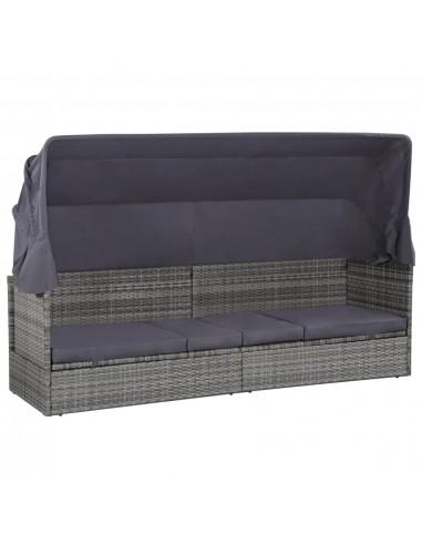 Lauko poilsio gultas su stog., polirat., 205x62x124cm, pilkas    Lauko lovos   duodu.lt