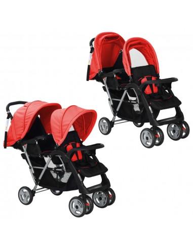 Vaikiškas dvivietis vežimėlis, plienas, raudonas/juodas    Kūdikių Vėžimėliai   duodu.lt
