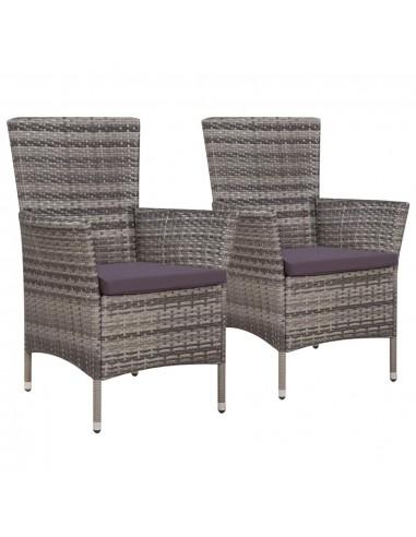 Lauko valgomojo kėdės, 2vnt., poliratanas, 58x61x88cm, pilkos | Lauko Kėdės | duodu.lt