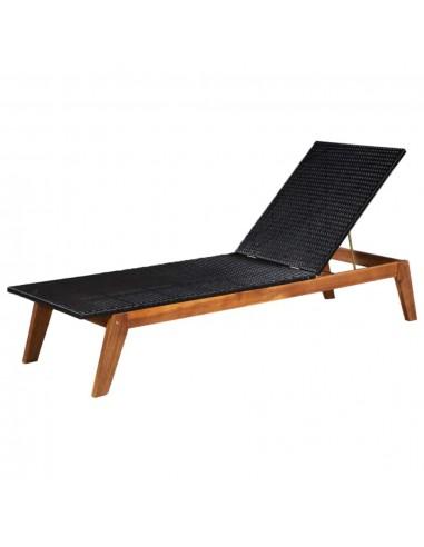 Saulės gultas, poliratanas ir akacijos medienos masyvas | Šezlongai | duodu.lt