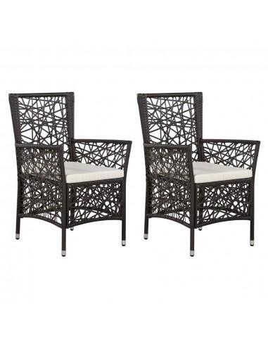 Lauko valgomojo kėdės, 2 vnt., poliratanas, rudos | Lauko Kėdės | duodu.lt