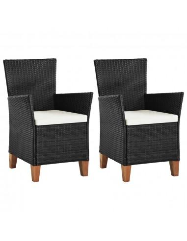Lauko valgomojo kėdės, 2vnt., poliratanas, juodos | Lauko Kėdės | duodu.lt