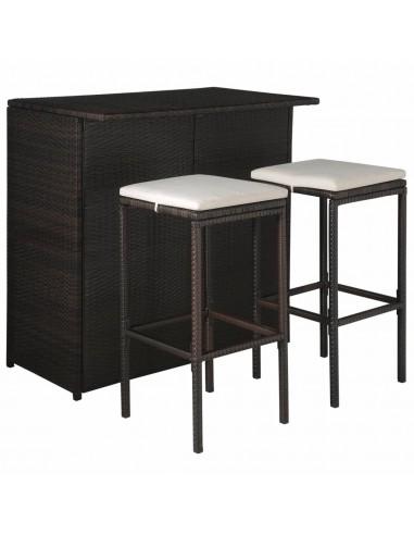Lauko baro baldų kompl., 5d., polirat., rud. ir krem. balt. sp. | Lauko Baldų Komplektai | duodu.lt