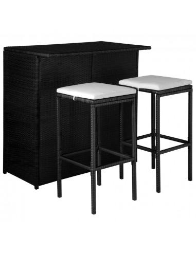 Lauko baro baldų kompl., 5d., polir., juod., ir krem. balt. sp. | Lauko Baldų Komplektai | duodu.lt
