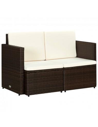 Dvivietė sofa, polir., 118x65x74cm, rudos ir krem. baltos sp.    Lauko Sofos   duodu.lt