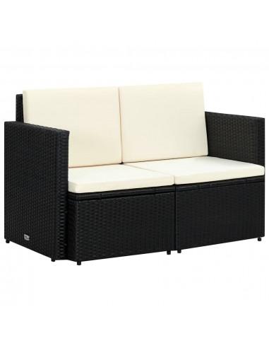 Dvivietė sofa, polir., 118x65x74cm, juodos ir krem. baltos sp.  | Lauko Sofos | duodu.lt